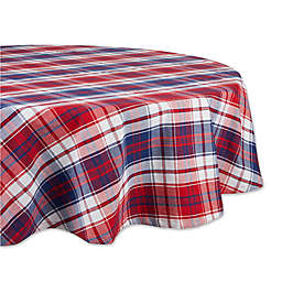 Design Imports Americana Plaid 70-Inch Round Tablecloth in Blue/Red