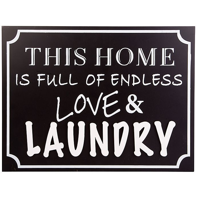 Alternate image 1 for Home Essentials & Beyond Love and Laundry 15.8-Inch x 11.8-Inch Wall Sign in Black