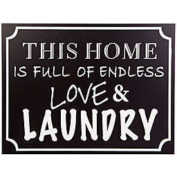 Home Essentials & Beyond Love and Laundry 15.8-Inch x 11.8-Inch Wall Sign in Black