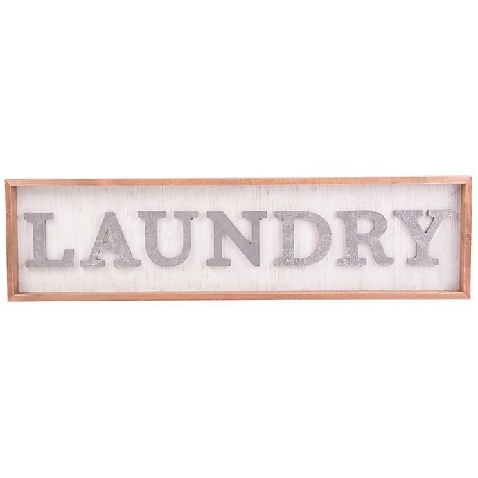 Alternate image 1 for Home Essentials & Beyond Laundry 30-Inch x 8-Inch Wall Sign in White