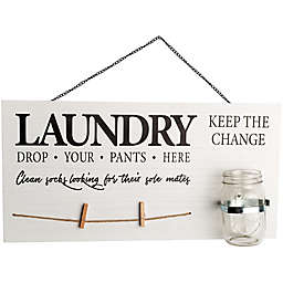 Home Essentials & Beyond Mason Jar Laundry 19.8-Inch x 10-Inch Wall Sign in White