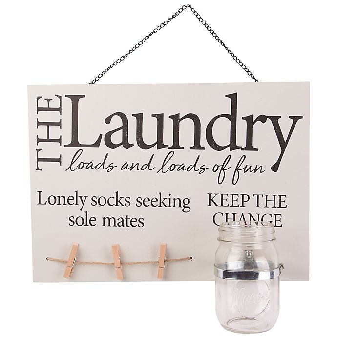 Alternate image 1 for Home Essentials & Beyond Mason Jar Laundry 14-Inch x 10-Inch Wall Sign in Tan