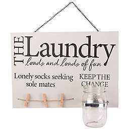 Home Essentials & Beyond Mason Jar Laundry 14-Inch x 10-Inch Wall Sign in Tan