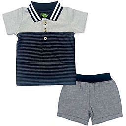 Kapital K Colorblocked Polo Shirt and Short Set in Black/White/Grey
