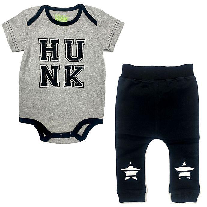 Alternate image 1 for Kapital K Size 6-9M 2-Piece Hunk Bodysuit and Pant Set in Black/White