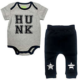 Kapital K Size 3-6M 2-Piece Hunk Bodysuit and Pant Set in Black/White