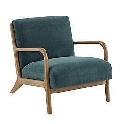 INK+IVY Novak Wood Lounge Chair in Teal