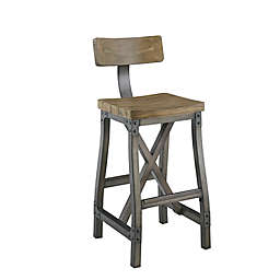INK+IVY® Lancaster Stool with Back in Aged Oak/Antique Silver