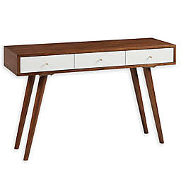 Madison Park® Rigby 3-Drawer Writing Desk in White/Pecan