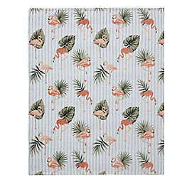 MHF Home Striped Flamingo Tropical Palm Throw Blanket in Green