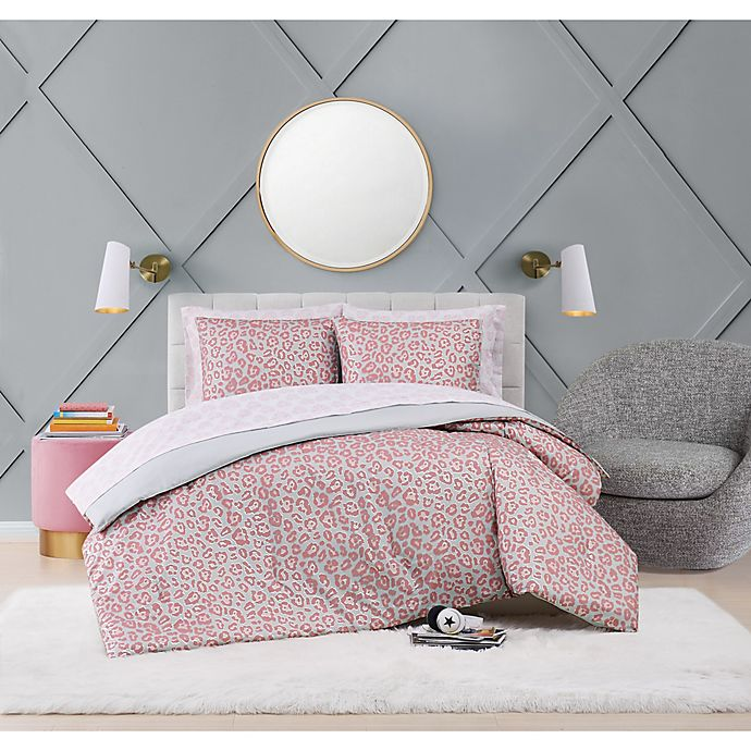 Alternate image 1 for Leopard 5-Piece Reversible Twin Comforter Set in Grey/Pink