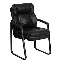 Flash Furniture Leather Executive Sled Base Side Chair in Black