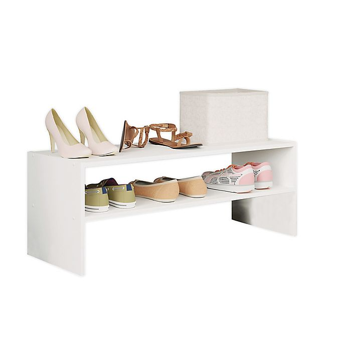 Alternate image 1 for Simply Essential ™ 2-Tier Shoe Stacker in White