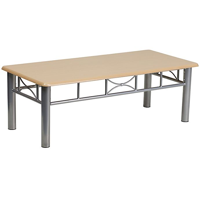 Alternate image 1 for Flash Furniture Natural Laminate Coffee Table with Silver Frame