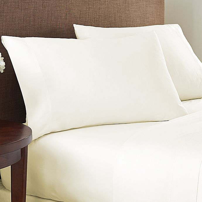 Alternate image 1 for Nestwell™ Cotton Sateen 400-Thread-Count Twin Flat Sheet in Egret
