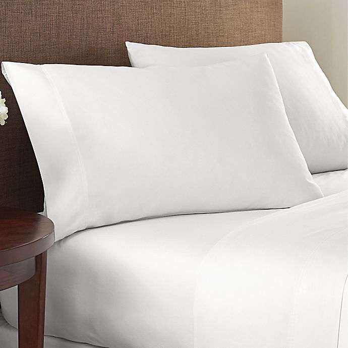 Alternate image 1 for Nestwell™ Cotton Sateen 400-Thread-Count Twin Fitted Sheet in Bright White