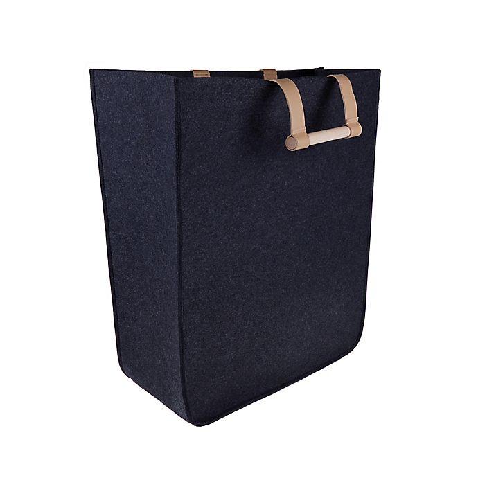 Alternate image 1 for Squared Away™ Felt Laundry Hamper in Dark Charcoal