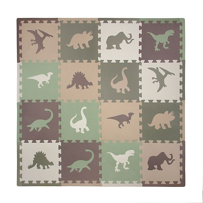 Alternate image 1 for Tadpoles™ Camouflage Dinosaur 16-Piece Playmat Set in Green