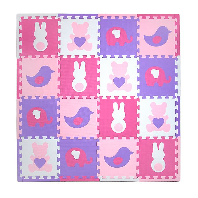 Alternate image 1 for Tadpoles™ Teddy and Friends 16-Piece Playmat Set in Pink/Purple