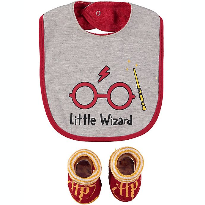 Alternate image 1 for Harry Potter™ Size 0-12M 2-Piece Bib and Bootie Set