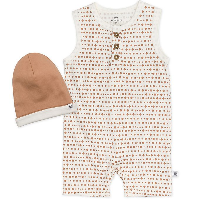 Alternate image 1 for The Honest Company® 2-Piece Organic Cotton Dot Romper and Beanie Set in Ivory