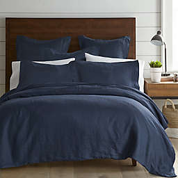 Levtex Home Washed Linen King Duvet Cover in Navy