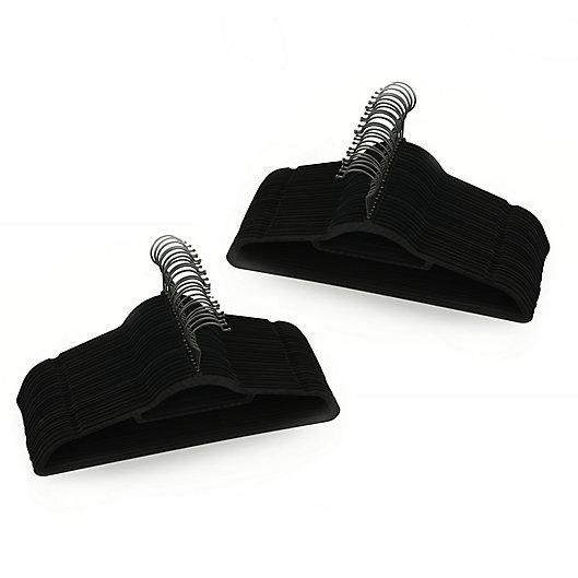 Alternate image 1 for Squared Away™ Velvet Slim Suit Hangers with Matte Black Hook (Set of 50)