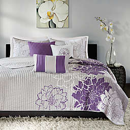 Madison Park Lola 6-Piece King Duvet Cover Set in Grey/Purple