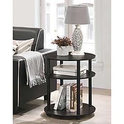 Progressive Furniture Cessna 3-Tier Round Side Table in Espresso