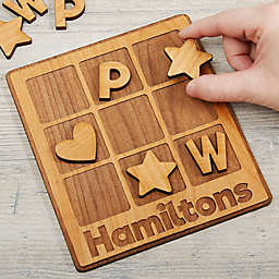Family Wooden Personalized Tic Tac Toe Game in Neutral