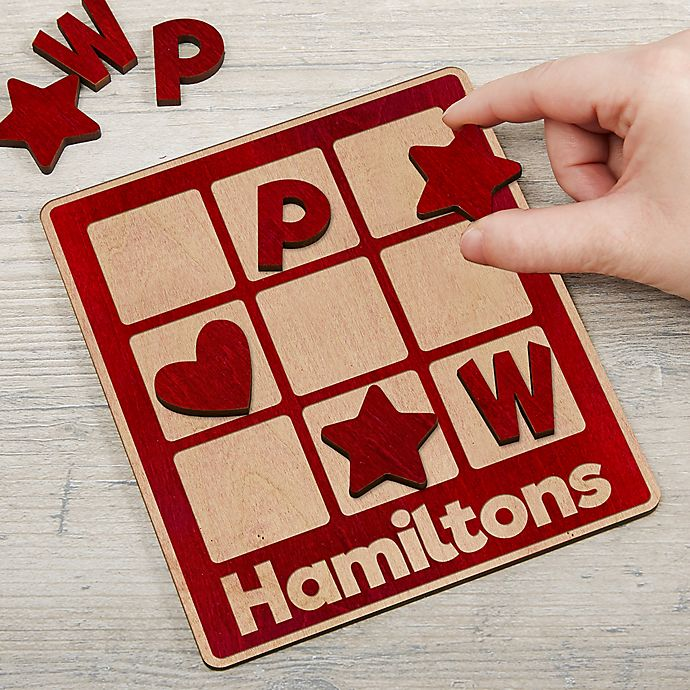 Alternate image 1 for Family Wooden Personalized Tic Tac Toe Game