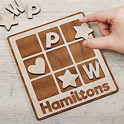 Family Wooden Personalized Tic Tac Toe Game in White