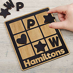 Family Wooden Personalized Tic Tac Toe Game in Black