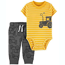 carter's® Newborn 2-Piece Tractor Bodysuit and Pant Set in Yellow