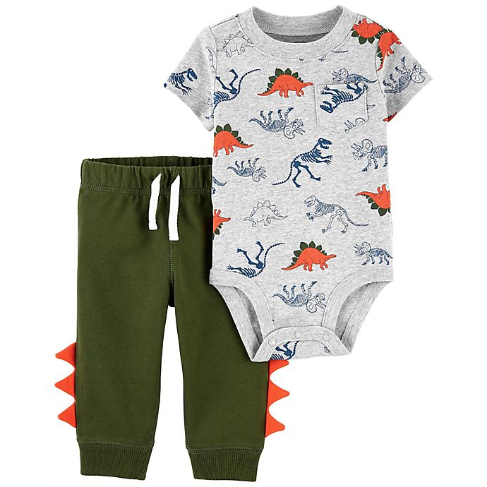 Alternate image 1 for carter's® Size 3M 2-Piece Dinosaur Bodysuit and Pant Set in Green