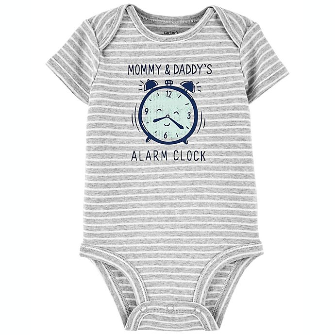 Alternate image 1 for carter's® Newborn Alarm Clock Short Sleeve Original Bodysuit in Grey