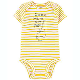 carter's® Size 9M Papa Dinosaur Short Sleeve Original Bodysuit in Yellow