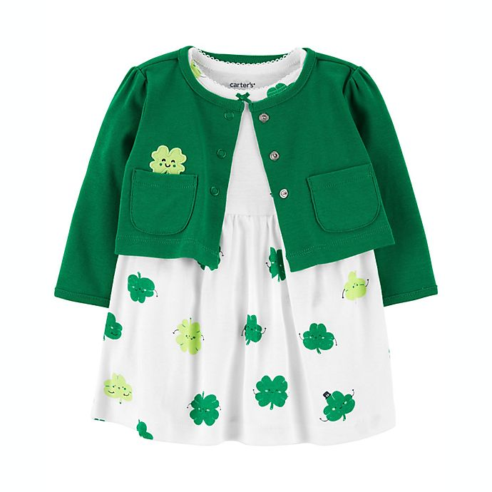 Alternate image 1 for carter's® 2-Piece Clover Bodysuit Dress and Sweater Set in Green