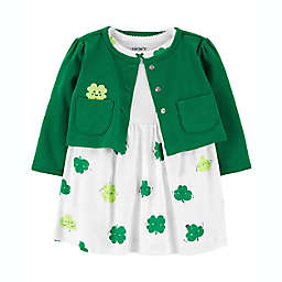 carter's® Newborn 2-Piece Clover Bodysuit Dress and Sweater Set in Green