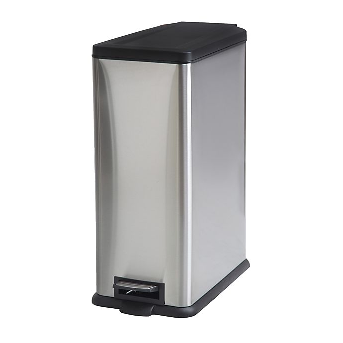 Alternate image 1 for Squared Away™ Stainless Steel 45-Liter Rectangle Step-On Trash Can