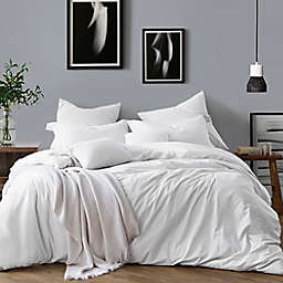 Swift Home Prewashed Yarn-Dyed Cotton 3-Piece Full/Queen Duvet Cover Set in Ivory