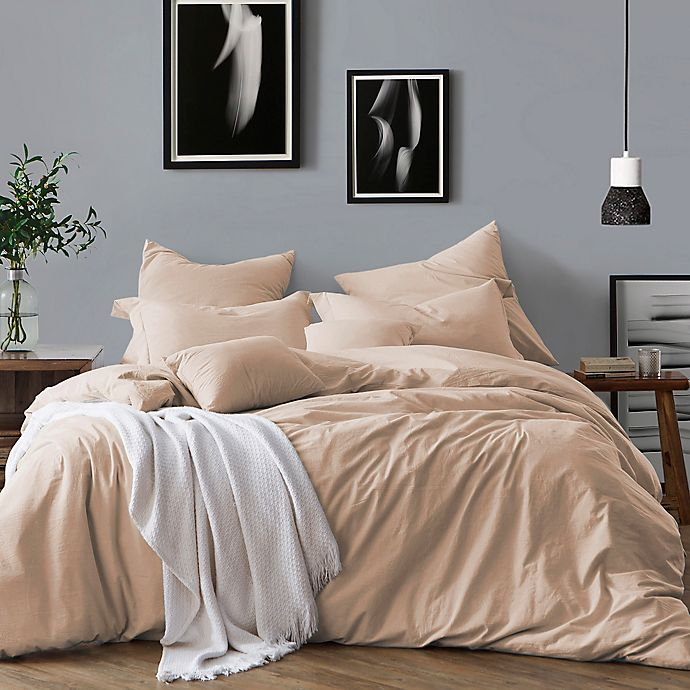 Alternate image 1 for Swift Home Prewashed Yarn-Dyed Cotton 3-Piece Full/Queen Duvet Cover Set in Almond