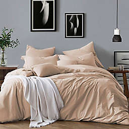 Swift Home Prewashed Yarn-Dyed Cotton 3-Piece Full/Queen Duvet Cover Set in Almond