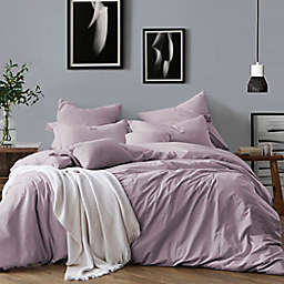 Swift Home Prewashed Yarn-Dyed Cotton 3-Piece King Duvet Cover Set in Lavender