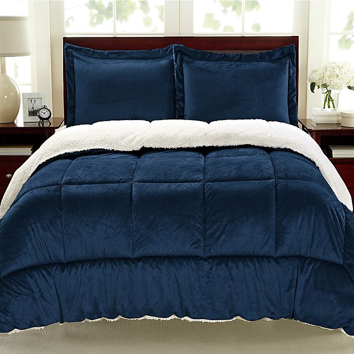 Alternate image 1 for Cathay Home Sherpa Down Alternative 3-Piece Comforter Set