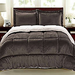 Cathay Home Sherpa Down Alternative 3-Piece Reversible Full Comforter Set in Chocolate