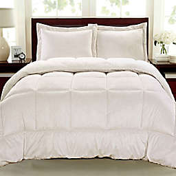 Cathay Home Sherpa Down Alternative 3-Piece Reversible Full Comforter Set in Ivory