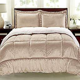 Cathay Home Sherpa Down Alternative 3-Piece Reversible Queen Comforter Set in Camel