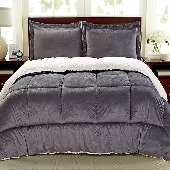 Alternate image 1 for Cathay Home Sherpa Down Alternative 3-Piece Reversible Queen Comforter Set in Pewter