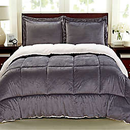 Cathay Home Sherpa Down Alternative 3-Piece Reversible Full Comforter Set in Pewter